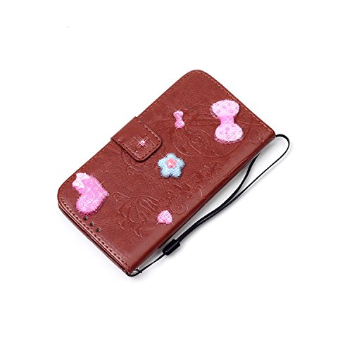JIALUN-Telefon Fall Mit Kartensteckplatz, Lanyard, geprägte Mode Open Handy Shell für IPhone 7 ( Color : Rose Red ) Brown