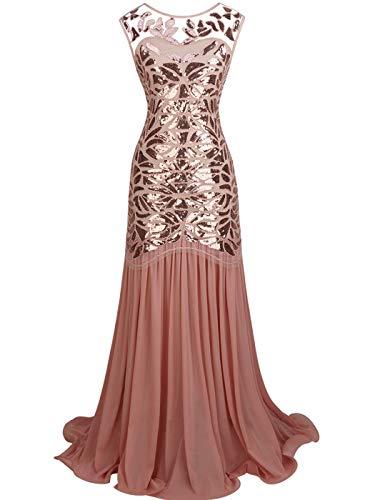 Rose Kostüm Fairy - FAIRY COUPLE 1920 Bodenlänge V-Rücken Pailletten verschönert Abschlussball Abend Kleid D20S004(M,Rose Gold)