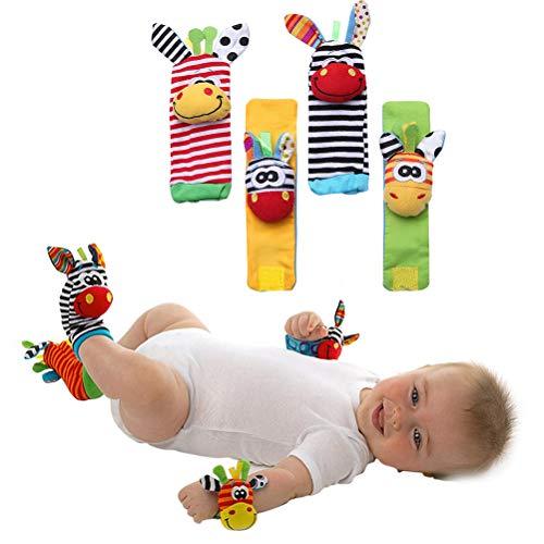 Lispeed Spielhandschuh Safari Fingerpuppen-Handschuh Baby Spielzeug Rassel Kleinkindspielzeug dem Spielhandschuh Greifling mit Rassel und Quietsche zur Stärkung der Eltern-Kind-Bindung ab 0 Monate