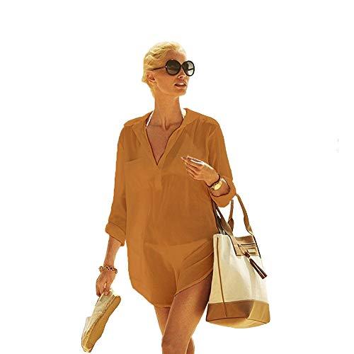 Frauen Kimono Bluse Beachwear Bikini vertuschen Bademode Badeanzug V-Ausschnitt Strand Badekleid und Kaftan Bluse für Damen (Gelb, XL) -