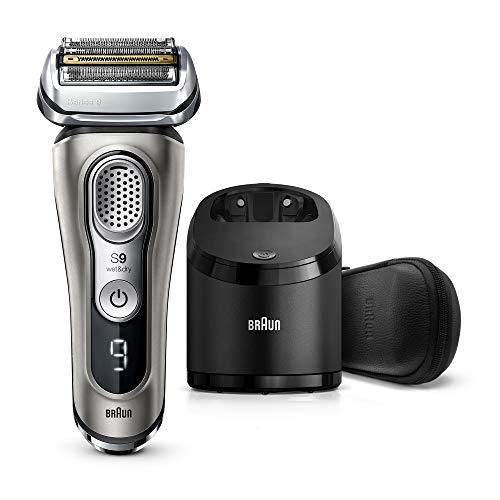 Braun Series 9 9385cc + Elektrischer Rasierer, mit 20% längerer Akkulaufzeit, verbesserte Reinigungs- und Ladestation, Leder-Etui, Wet&Dry Elektrorasierer Herren, Präzisionstrimmer, grafit