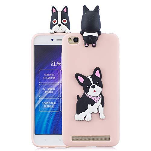 HopMore Funda para Xiaomi Redmi 5A Silicona Dibujo 3D Divertidas Panda Animal Carcasa TPU Ultrafina Case Slim Antigolpes Caso Protección Flexible Cover Design Gracioso - Perro Rosa