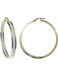 Jewelco London Ladies 9ct Yellow Gold MoonDust StarDust Double Sided Hoop Earrings 50mm