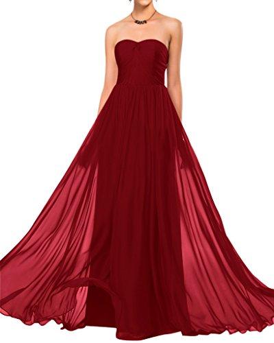 Sunvary semplice, senza spalline in Chiffon Elegante vestito da damigella d'onore abito da matrimonio Burgundy