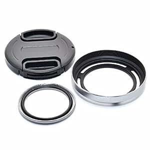 JJC LH-X20GB Kit d'accessoires (argent) pour Fujifilm X10, X20, X30 - Comprend Adaptateur d'objectif avec Filtre UV, Pare-soleil metal et Bouchon d'objectif