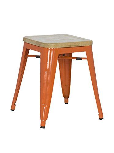 SuperStudio lo+demoda Ural Color Edition Taburete, Madera, Naranja, 52.5x47x77.5 cm, 2 Unidades