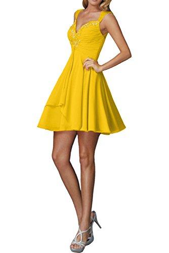 La_Marie Braut Pfirsisch Traeger Damen Cocktailkleider Abendkleider Kurzes Ballkleider Mini Chiffon Rock Gelb