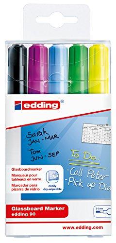 Board Sortierung (edding 90 Glassboard Marker - Sortierung 999 - 5er Set - Zum Beschriften von Glasboards und den meisten Glas-Oberflächen)