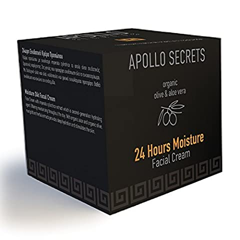 Moisturiser For Men - With Organic Olive Oil and Aloe Vera & Essential Oils - 24hrs / Moisture Facial Cream - 50ml - By Apollo Secrets Natural Cosmetics - Especially Developed For Men - FREE UK