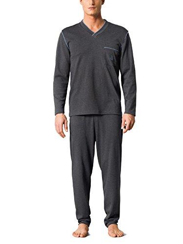 Walbusch Herren Thermo-Schlafanzug einfarbig Anthrazit 52