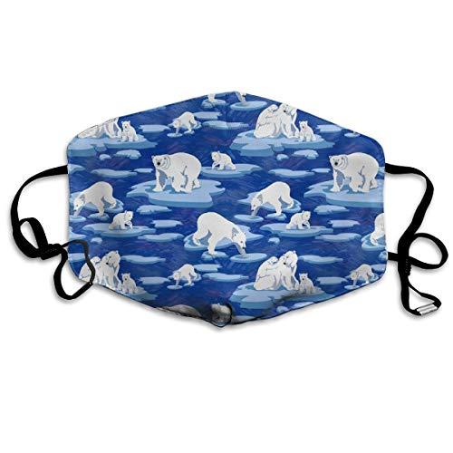 Polar Bears Meet On The Ice (dark Blue 50) Anti Dust Mask Anti Pollution Washable Reusable Mouth Masks (Halloween On Ice)