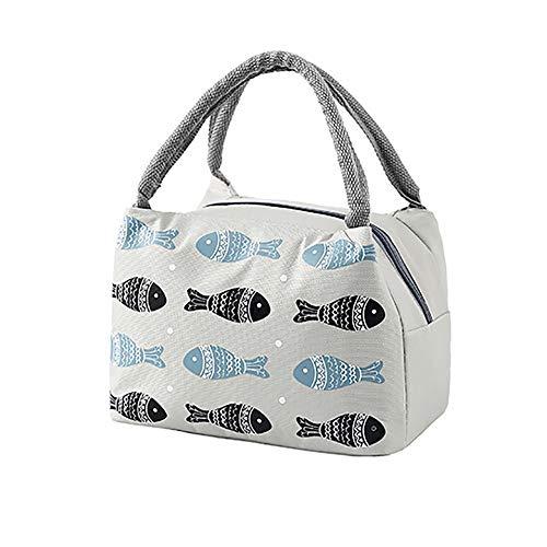 Kühltasche Klein-4 Fisch Muster Kühltasche Picknicktasche Lunchtasche Wasserfest, Tragbare Picknicktasche, Aufbewahrungstasche für Picknick Grillen Büro Schuhle (Grau)