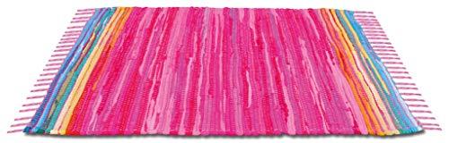 (Bestlivings Flickenteppich handgewebter Teppich aus Baumwolle, Stylischer und strapazierfähiger Fleckerlteppich in Vielen Verschiedenen Modischen Ausführungen erhältlich (60 x 90cm / Pink - Rosa))