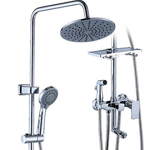 Ensemble de douche, un bouton 4-Way robinet, ABS double pomme de douche, haute pression Spray pistolet bidet, plate-forme de stockage, système de douche, salle de bain salle de bain baignoire
