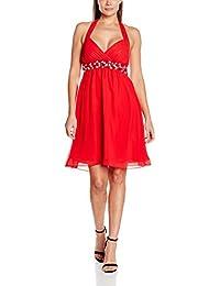 My Evening Dress Kurzes Damen Cocktailkleid Neckholder Knielang Chiffon Kleider Abendkleider Ballkleider mit Strasssteinen Frauen