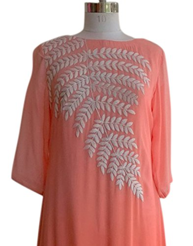 Pink Color Georgette Embroidered Stitched Kurti-H508KIC2035CNXL by Surat Tex  available at amazon for Rs.489
