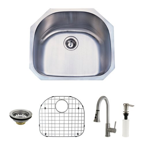 Bowl Undermount Kitchen (Kingston Brass KZGKUS2321F Gourmetier Undermount Single Bowl Kitchen Sink and Faucet Combo with Strainer, Grid and Soap Dispenser by Kingston Brass)