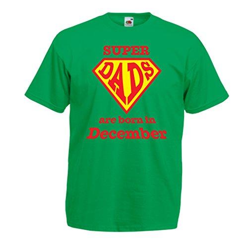 Männer T-Shirt Super-Väter sind im Monat Dezember geboren Geburtstags-T-Shirts Geschenke (XX-Large Grün Mehrfarben)