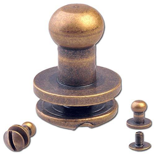 20 Knopfschraubnieten Patronentaschenverschluss Beiltaschenknöpfe Knopfnieten zum Anschrauben Pilzkopfschrauben 5MM messing-antik