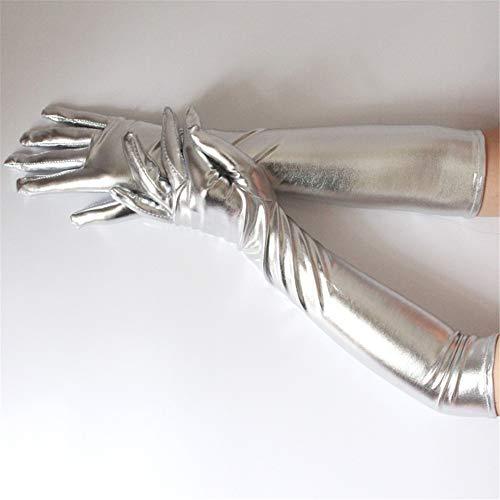 Frauen Sexy Ellenbogen Länge Lange Latex Handschuhe Gold Silvery Wet Look gefälschte Leder Metallic Handschuhe Abend Party Performance Handschuhe- (2 Paare),Silber (Sexy Latex-handschuhe)