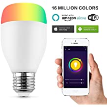 Horsky Bombilla inteligente LED e27 calido Wi-Fi con APP Más ricos colores LED Plug and Play Android iOS Amazon Alexa Luz regulable Bombilla led calido y fria