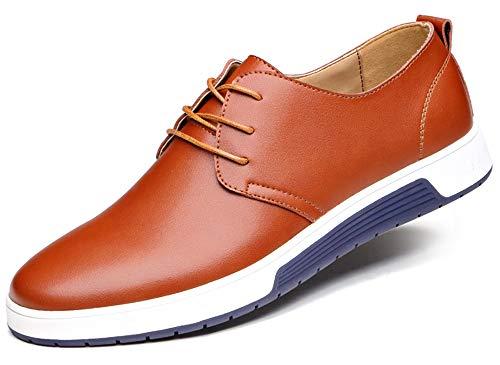 CAGAYA Herren Freizeit Schuhe aus Leder Business Anzugschuhe Atmungsaktiv Lederschuhe Oxford Halbschuhe Party Hochzeit übergrößen 38-46 (41, Braun)