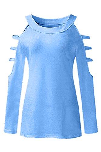 YMING Damen Langarmshirt Crewneck Schulterfrei Hohle Loch CausalBluse Damen Oberteile,XXS-XXXXL Blau