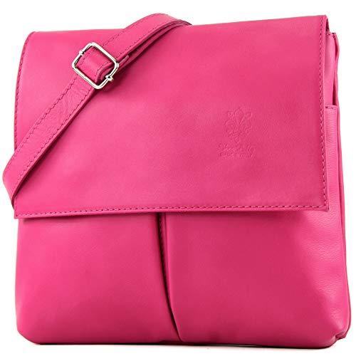 modamoda de - ital Umhänge-/Schultertasche Nappaleder T63, Präzise Farbe:Pink