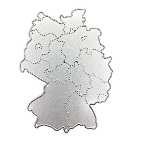 Stanzschablone Landkarte, FNKDOR Scrapbooking Stanzen Schablonen Prägeschablonen Stanzformen, für Sizzix Big Shot und andere Stanzmaschine (Deutschland)
