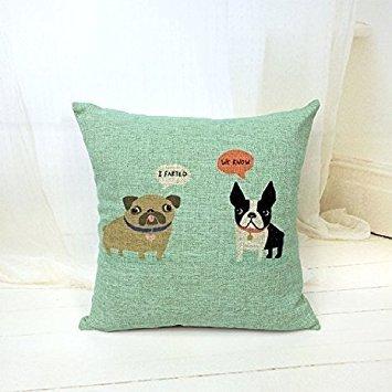 lcartstore Englische Bulldogge Französische Bulldogge Hunde 45,7x 45,7cm Baumwolle Leinen Dekorative Kissen Fall werfen Kissen. -