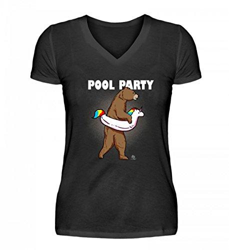 Bear Unicorn Pool Party Bär Einhorn Einhörner Unicorns Schwimmer Schwimmen Swim Geschenk - V-Neck Damenshirt