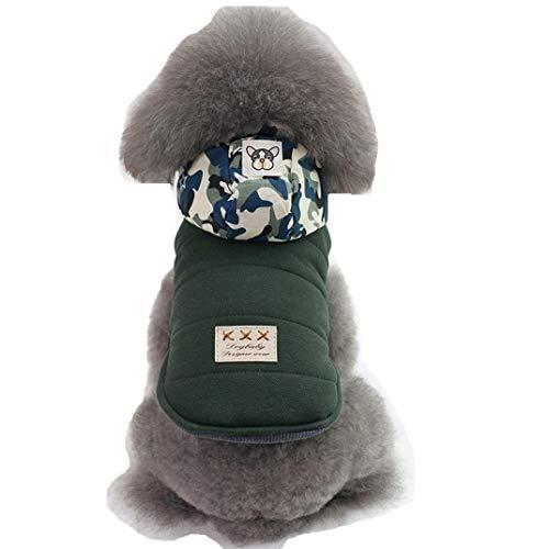 Eyxia-Pet-Master Nettes Haustier-Hundewelpen-Winter-warmes Tarnungs-HutHoodie-Kostüm kleidet Overall-Kleid (Color : Grün, Size : - Kostüm Für Miniatur Dackel