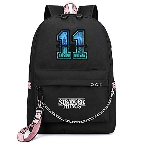 Mochila Stranger Things Escolar, Stranger Things 3 Mochila de Impresión 3D Stranger Things Bolsa para Mujer Hombre Portátil Backpack Casual Hombro Mochila Adolescentes con USB Puerto