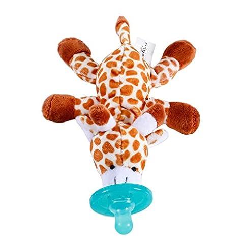 LESHP Girafe de Sucette pour Bébé Jouet Sucette pour Enfant Jouet en Peluche Animal de Girafe Sonnettes Poignée Jouets pour 3 à 24 mois (Jeune)