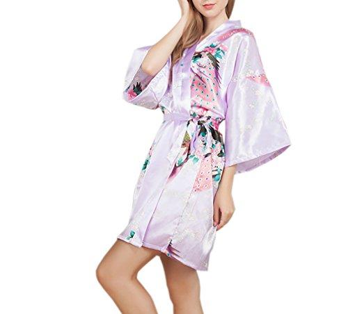 Luck Femme Satin Soyeux Peignoir Robe de Chambre 3/4 Manche avoir Ceinture en Polyester Rose