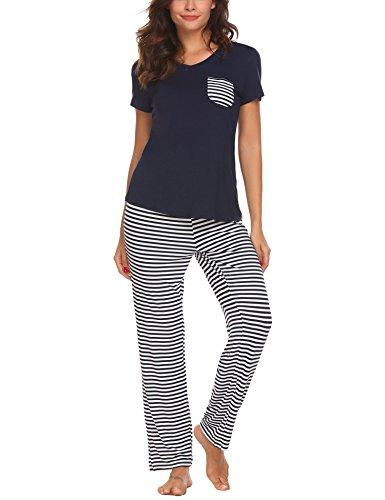 Unibelle Damen Kurzarm Pyjama Schlafanzug Nachtwäsche Baumwolle Bund Sommer Winter Altrosa XL (Blaue Sommer-pyjama)