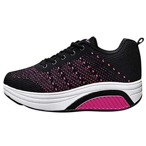 OSYARD Basket Femme Course Chaussure de Sport Mode Multisports Outdoor Running Sneaker Fitness Hiking Fond Epais et Mou Entraînement Shoes