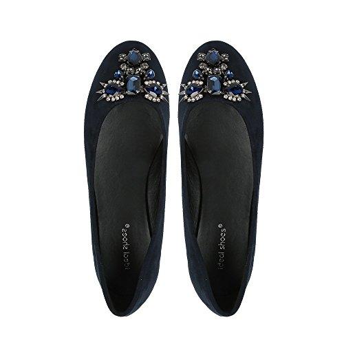 Ideal Shoes - Ballerines effet daim décorées de strass et piques Ella Marine