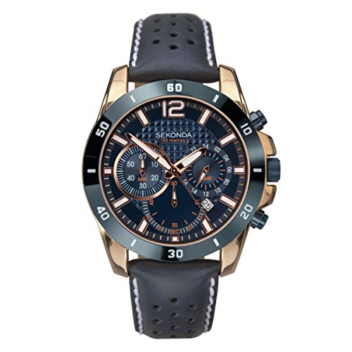Sekonda Watches Orologio Cronografo Quarzo Uomo con Cinturino in Pelle 1489.27