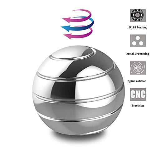 FMXYMC Tisch Kreisel Stress Illusion Spin Ball Anti-Angst ADHD Erwachsene und Kinder Büro Metallbeschläge Geeignet für Entspannung Kleines Spielzeug,Silverbig