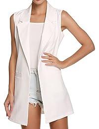 Highdas Mujeres Chaleco largo sin mangas del chaleco de la manera del estilo de la chaqueta Outwear Casual Top