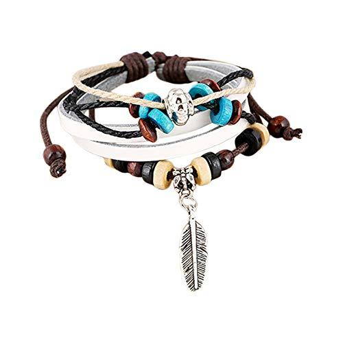 Gespout braccialetto multistrato donna uomo piuma ciondolo bracciale pelle intrecciato bello ideale regalo per compleanno, natale, matrimonio, san valentino braccialetti