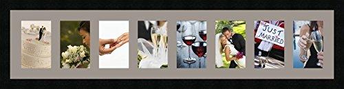 Cadres photos pêle mêle multivues 8 photo(s) 10x15 Passe Partout, Cadre photo mural 94x20 cm Noir, 3 cm de largeur