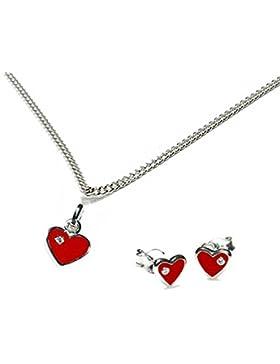 Kinderschmuck-Set kleines rotes lackiertes Herz, Kinderohrstecker Ø 6 x 6 mm, Kinderkette mit Anhänger kleines...