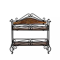 Aafiya Handicrafts Aafiya Handicrafts Premium Quality Wooden & Wrought Iron Home Decor Antique Rack, Size (LXBXH=29X11X30)cm