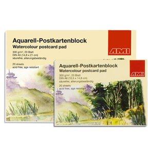 20 Blatt Aquarell-Postkartenblock DIN A5 von AMI - TapetenShop