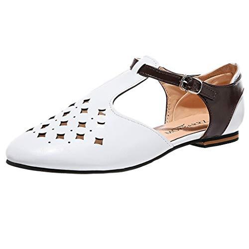nlese-beiläufiges T-Bügelsandelholz klobige hohe Absätze Kontrast Pumpen Schuhe durch Lowprofile römische Durchbrochene Wohnungen ()