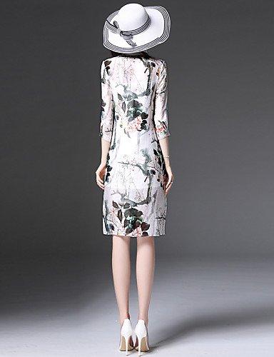 PU&PU Robe Aux femmes Gaine Simple,Imprimé Mao Mi-long Soie / Nylon WHITE-XL