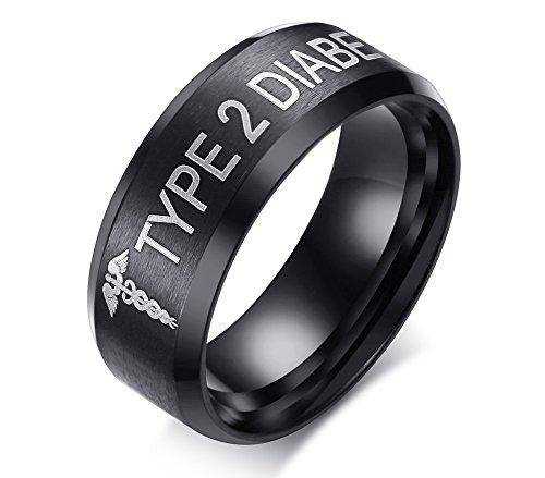 XUANPAI Edelstahl Snake Stick Medical Alert TYP 2 Diabetes Band Ring Für Männer, Größe 67