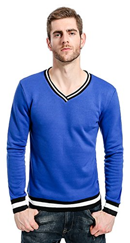 Whatlees Unisex Hip Hop Urban Basic Freizeit Vneck Sweatshirt mit gerippter Kontrastblende B871-Blue-M (Blue V-neck-gerippte)